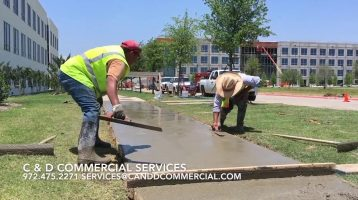 Concrete repair in dallas and fort worth. C & D Commercial Services has a full-time concrete crew that can handle anything from small repairs to large pours